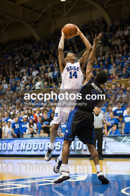 DURHAM, NC - DECEMBER 05: CJ Massinburg #3 of the Buffalo Bulls defends Brandon Ingram #14 of the Duke Blue Devils during a 59-82 Duke Blue Devils win on December 05, 2015 at Cameron Indoor Stadium in Durham, North Carolina. (Photo by Peyton Williams/Getty Images) *** Local Caption *** CJ Massinburg;Brandon Ingram