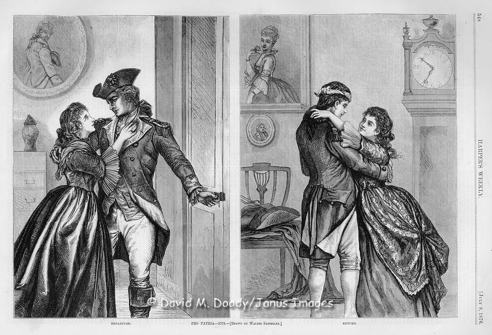 """""""Pro Patria-1776""""  & """"The Return"""" A soldier of the American Revolution leaves his home and lover, then returns after the war with a head wound. Illustration by Walter Satterlee for July 1876 Harper's Weekly  (US Centennial year)"""