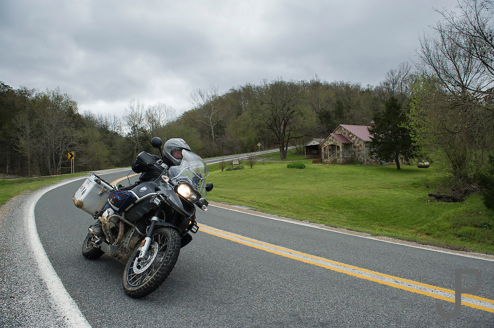 Bill Dragoo chasing curves along Highway 16 in central Arkansas.