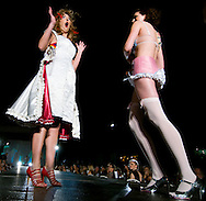 Omaha, NEB 9/19/09.Two models wearing Laci Neal designed pieces put on a little performance for the crowd...Chris Machian/The World-Herald