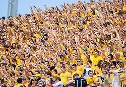 Sep 26, 2015; Morgantown, WV, USA; West Virginia mountaineer fans cheer during a first down against the Maryland Terrapins at Milan Puskar Stadium. Mandatory Credit: Ben Queen-USA TODAY Sports