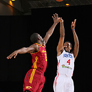 Delaware 87ers Guard JORDAN MCRAE (4) takes a jumps shot as Canton Charge Guard SIR' DOMINIC POINTER (15) defends in the first half of a NBA D-league regular season basketball game between the Delaware 87ers and the Canton Charge Tuesday, JAN, 26, 2016 at The Bob Carpenter Sports Convocation Center in Newark, DEL.<br /> <br /> Delaware 87ers guard Jordan McRae broke the NBA minor league&rsquo;s single-game scoring record going 21-34 finishing with 61 points in a 130-123 overtime win over the Canton Charge.