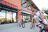 08 September 2013: Jeff Patrician of Boulder (white jersey/shorts) Khem Suthiwan of Denver (green/black jersey and shorts) and Scott Taylor of Boulder (black jersey/shorts) set off from Amante Coffee Shop in North Boulder during the bicycle ride from the front range city of Boulder to the mountain town of Ward via Old Stage Road and Left Hand Canyon in Boulder, CO. ©Brett Wilhelm