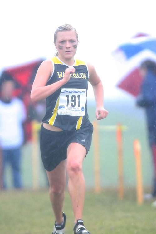 (Kingston, ON---25 October 2008) Monika Bolejszo of WATERLOOuniversity running to finish 63 in the 2008 Ontario University Athletics women's cross country championship.  Photograph copyright Sean Burges/Mundo Sport Images (www.msievents.com).
