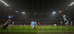 MANCHESTER, ENGLAND - Thursday, March 15, 2012: Sporting Clube de Portugal's Ricky van Wolfswinkel scores the second goal against Manchester City during the UEFA Europa League Round of 16 2nd Leg match at City of Manchester Stadium. (Pic by David Rawcliffe/Propaganda)