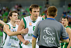 Goran Dragic of Slovenia and Matjaz Smodis of Slovenia during friendly match before Eurobasket Lithuania 2011 between National teams of Slovenia and Lithuania, on August 24, 2011, in Arena Stozice, Ljubljana, Slovenia. Slovenia defeated Lithuania 88-66. (Photo by Vid Ponikvar / Sportida)