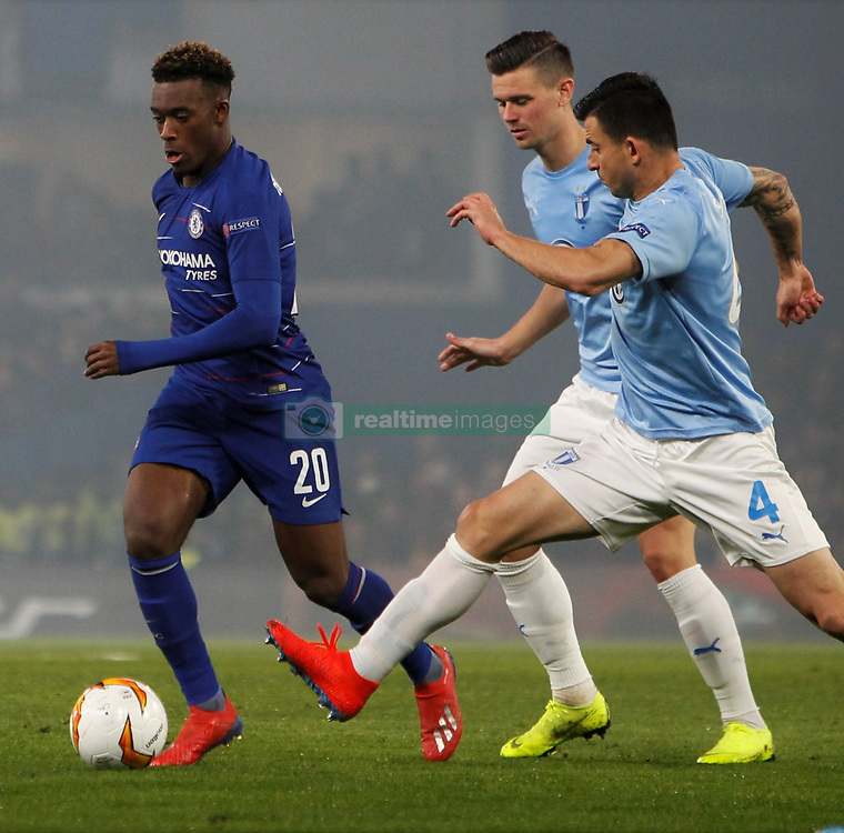 February 21, 2019 - London, Greater London, United Kingdom - Callum Hudson-Odoi keeps the ball away from Behrang Safari.during UEFA Europa League Round of 32 2nd Leg between Chelsea and Malmo FF at Stamford Bridge stadium, London, England on 21 Feb 2019. (Credit Image: © Action Foto Sport/NurPhoto via ZUMA Press)