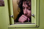 Patricia Hernandez is held in the city jail on a domestic violence charge. Dec. 10, 2011. Oxnard, Calif. (Photo by Gabriel Romero ©2011)
