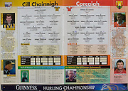 All Ireland Senior Hurling Championship - Final, .12.09.1999, 09.12.1999, 12th September 1999,.12091999AISHCF,.Senior Kilkenny v Cork,.Minor Galway v Tipperary, .Cork 0-13, Kilkenny 0-12,.Kilkenny, 1 James McGarry, Bennetsbridge, 2 Phillip Larkin, James Stephens, 3 Canice Brennan, Conahy Shamrocks, 4 Willie O'Connor, Glenmore, 5 MIchael Kavanagh, St Lachtains, 6 Pat O'Neill, Young Irelands, 7 Peter Barry, James Stephens, 8 Andy Comerford, O'Loughlin Gaels, 9 Denis Byrne, Graigue Ballycallan, 10 DJ Carey, Young Irelands, 11 John Power, John Lockes, 12 Brian McEvoy, James Stephens, 13 Ken O'Shea, Dunnamaggin, 14 Henry Shefflin, Shamrocks, 15 Charlie Carter, Young Irelands, .subs, PJ Ryan, Tom Hickey, Johnny Butler, Eamon Kennedy, Paddy Mullally, Stephen Grehan, PJ Delaney, Niall Moloney, David Buggy, ..Cork, 1 Donal Og Cusack, Cloyne, 2 Fergal Ryan, Blackrock, 3 Diarmuid O'Sulllivan, 4 John Browne, Blackrock, 5 Wayne Sherlock, Blackrock, 6 Brian Corcoran, Erin's Own, 7 Sean Og O hAilpin, Na Piarsagh, 8 Mark Landers captain, Killeagh, 9 Michael O'Connell, Midleton, 10 Timmy McCarthy, Castlelyons, 11 Fergal McCormack, Mallow, 12 Sean McGrath, Glen Rovers, 13 Ben O'Connor, Newtownshandrum, 14 Neil Ronan, Ballyhea, 15 Joe Deane, Killeagh, subs, Bernard Rochford, Derek Barrett, Dan Murphy, Johnny Sheehan, Pat Ryan, Alan Brown, Kevin Murray, Michael Daly, Kieran Morrison,