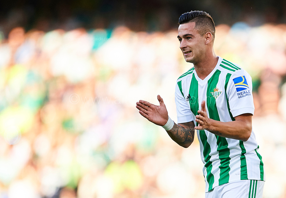 SEVILLE, SPAIN - SEPTEMBER 16:  Sergio Leon of Real Betis Balompie looks on during the La Liga match between Real Betis and Deportivo La Coruna  at Estadio Benito Villamarin on September 16, 2017 in Seville, .  (Photo by Aitor Alcalde Colomer/Getty Images)