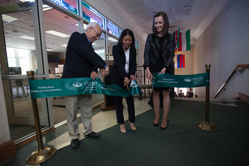 College of Business Trading Room Ribbon Cutting in Copeland Hall on Friday, April 21, 2017. © Ohio University / Photo by Kaitlin Owens