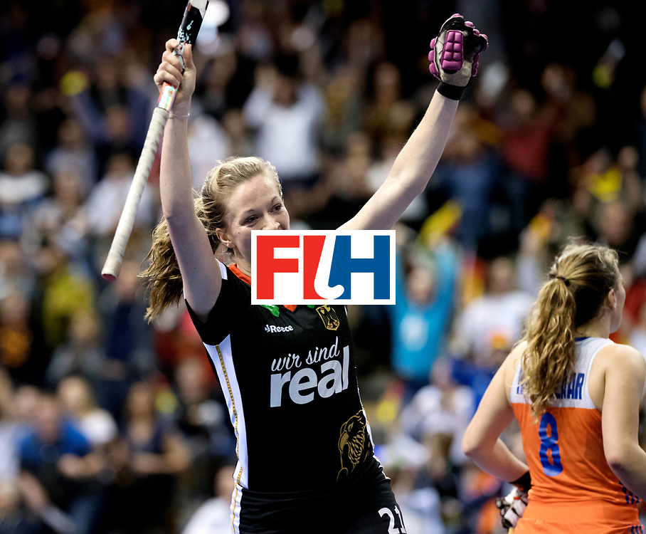 BERLIN - Indoor Hockey World Cup<br /> Final: Netherlands - Germany<br /> foto: Franzisca Hauke celebrates the 1-2.<br /> WORLDSPORTPICS COPYRIGHT FRANK UIJLENBROEK