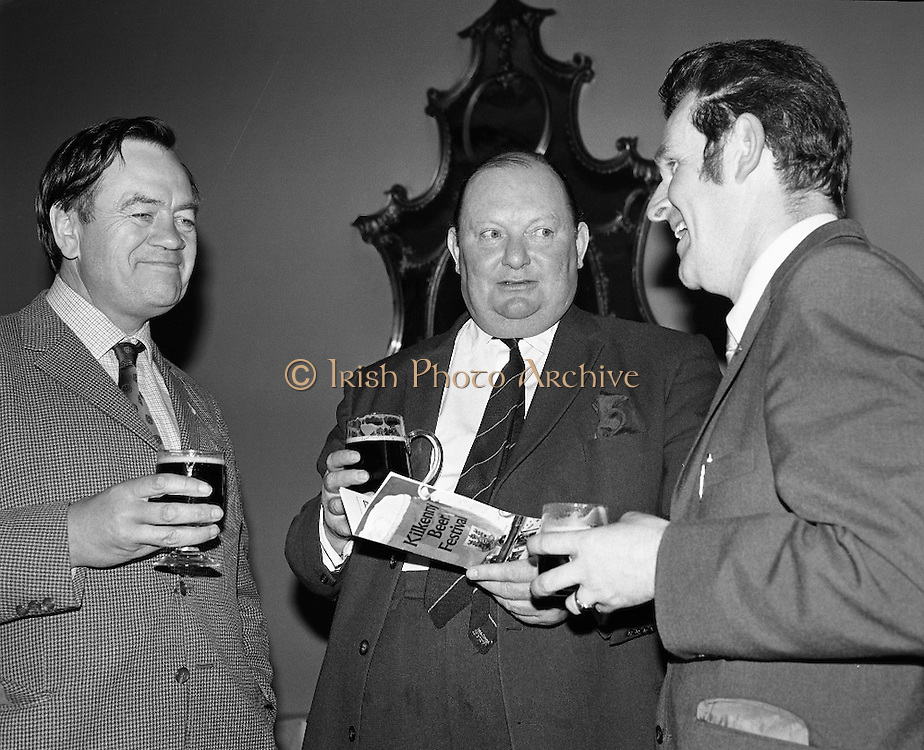 Kilkenny Beer Festival Launch..1972..11.09.1972..09.11.1972..11th September 1972..At the Guinness reception in Dublin plans were announced for this years Kilkenny Beer Festival..Pictured at the announcement were, Mr Owen Lysaght, Southern regional Manager,Guinness Group Sales, Mr R B Howick,Sales Director and Mr Sean McManus,Chairman,Festival Committee.