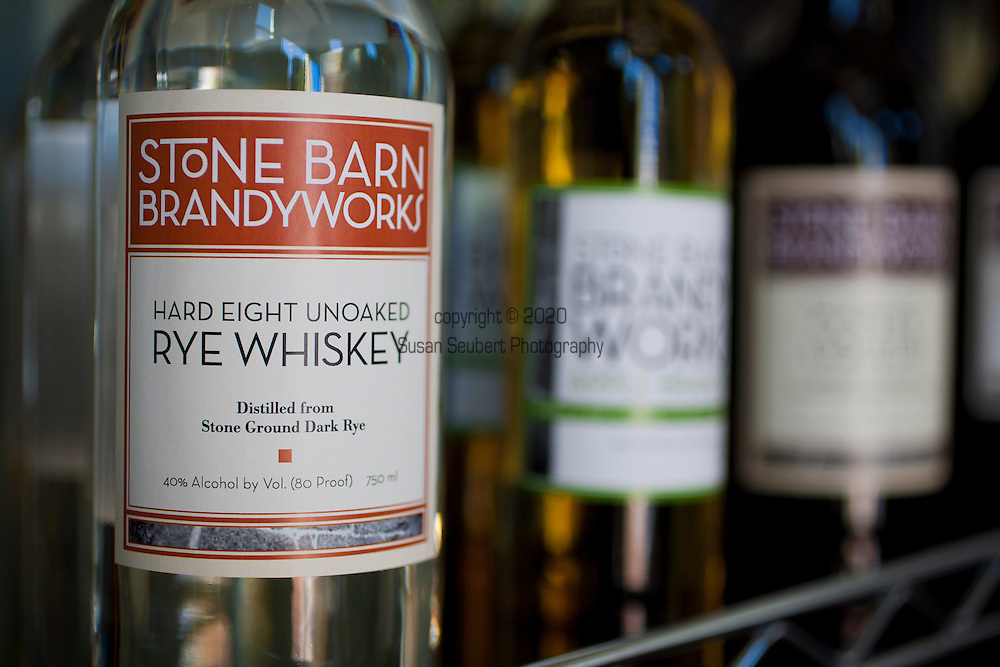 Stone Barn Brandyworks, a micro-distillery in SE Portland, Oregon run by Sebastian and Erica Degens.  They make products that include rye whiskey, pear brandy, and other varieties of distilled spirits and operate out of a very small, green warehouse space.  Their products are not yet for sale other than directly from them.  Their current, seasonal product line.
