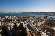 Istanbul. Galata Tower. View from the terrace: Galata Bridge across the Golden Horn, U?sku?dar on the Asian side in backgr. r.