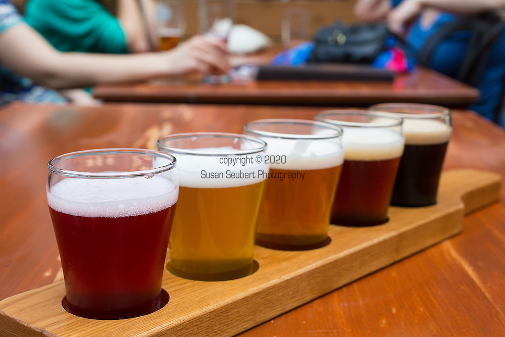 The Korrigane Brewery located in the hip Quartier Saint Roch brews several kinds of beer, including seasonal beers that include local fruit like blueberries and locally grown hops.  From left to right: The Emily Carter made with blueberry, The Mary Morgan, the Feu Follett Ambrée made with 100 percent Quebec malt and hops, the Korrigane a pale ale rouse, and the Catherine La Grand imperial stout.