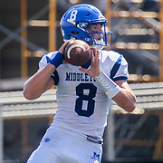 Middletown quarterback DREW FRY (8) attempts throws a pass in the second quarter of a week two DIAA game between Middletown and William Penn, Saturday, Sept. 16, 2017 at Bill Cole Stadium in New Castle, DE.
