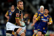 Brad Shields of Wellington looks to pass during the Mitre 10 Competition match between Otago and Wellington at Forsyth Barr Stadium on August 25, 2016 in Dunedin, New Zealand. Credit: Joe Allison / www.Photosport.nz