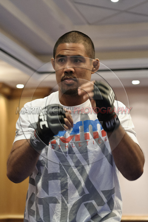 BIRMINGHAM, ENGLAND, NOVEMBER 2, 2011: Mark Munoz shadow-boxes at the media open work-out sessions inside the Hilton Hotel on November 2, 2011.
