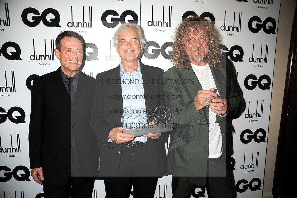 Led Zeppelin rock group JOHN PAUL JONES, ROBERT PLANT and JIMMY PAGE at the GQ Men of the Year Awards held at the Royal Opera House, London on 2nd September 2008.<br /> <br /> NON EXCLUSIVE - WORLD RIGHTS