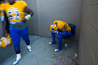 Grant Pacers James Fotofili (7), waits outside the locker room before the game as the Capitol Christian Cougars host the Grant Pacers,  Friday Sep 8, 2017. photo by Brian Baer