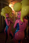 Sasha Frolova. ( pink) Andrey Bartenev ' Disco-Nexion' Riflemaker. Beak St. Soho. London. 7 January 2008. -DO NOT ARCHIVE-© Copyright Photograph by Dafydd Jones. 248 Clapham Rd. London SW9 0PZ. Tel 0207 820 0771. www.dafjones.com.