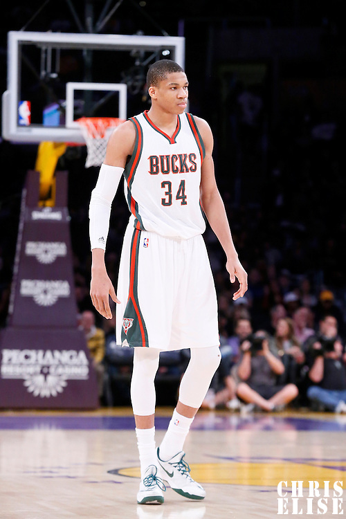 27 February 2015: Milwaukee Bucks forward Giannis Antetokounmpo (34) is seen during the Los Angeles Lakers 101-93 victory over the Milwaukee Bucks, at the Staples Center, Los Angeles, California, USA.