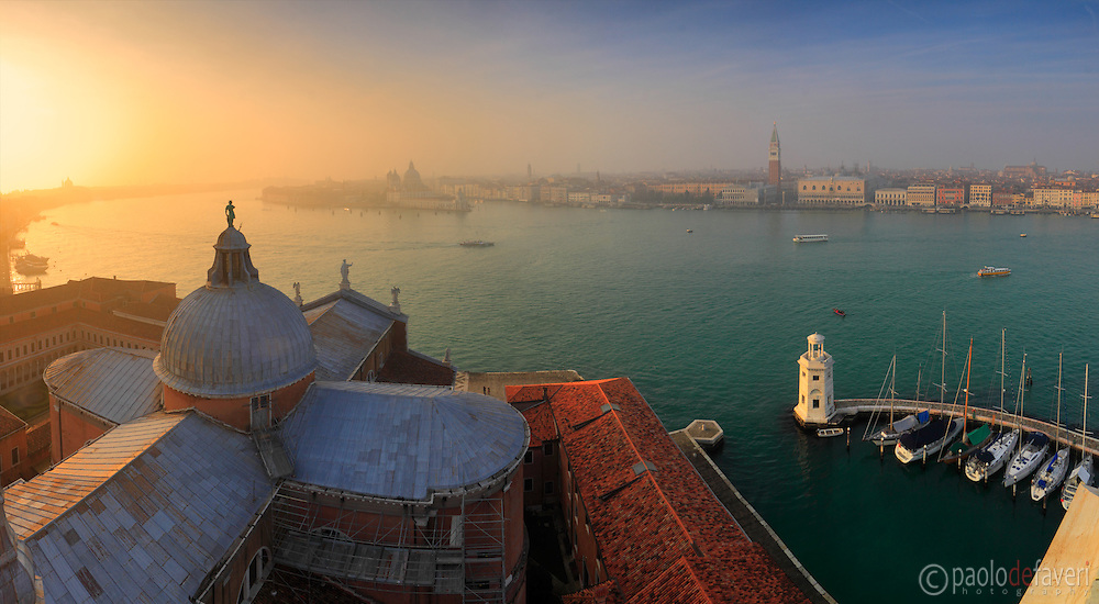 A panoramic view at sunset of the San Marco Basin as seem from the top of the bell tower of San Giorgio Maggiore. Stitched from seven vertical frames.