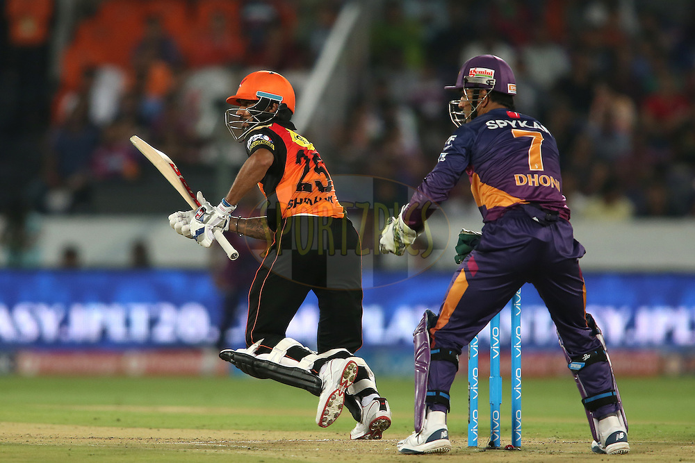 Shikhar Dhawan of Sunrisers Hyderabad sets off for a quick single during match 22 of the Vivo IPL 2016 (Indian Premier League) between the Sunrisers Hyderabad and the Rising Pune Supergiants held at the Rajiv Gandhi Intl. Cricket Stadium, Hyderabad on the 26th April 2016<br /> <br /> Photo by Shaun Roy / IPL/ SPORTZPICS