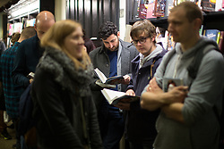 """© Licensed to London News Pictures . 25/10/2016 . Manchester , UK . Over 300 people queue to meet STEVE COOGAN (appearing in character as Alan Partridge) at Waterstones on Deansgate in Manchester for a launch and book signing of """" Alan Partridge Nomad """" . Photo credit : Joel Goodman/LNP"""