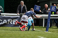 Sam Smith of Worcester scores the opening try during the Green King IPA Championship Play-Off match between London Scottish &amp; Worcester at Richmond, Greater London on Saturday 2nd May 2015<br /> <br /> Photo: Ken Sparks | UK Sports Pics Ltd<br /> London Scottish v Worcester, Green King IPA Championship, 2nd May 2015<br /> <br /> &copy; UK Sports Pics Ltd. FA Accredited. Football League Licence No:  FL14/15/P5700.Football Conference Licence No: PCONF 051/14 Tel +44(0)7968 045353. email ken@uksportspics.co.uk, 7 Leslie Park Road, East Croydon, Surrey CR0 6TN. Credit UK Sports Pics Ltd