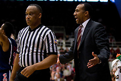February 27, 2010; Stanford, CA, USA;  Stanford Cardinal head coach Johnny Dawkins argues a call during the first half against the Arizona Wildcats at Maples Pavilion.  Arizona defeated Stanford 71-69.