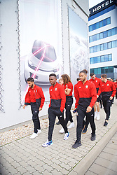 BRATISLAVA, SLOVAKIA - Thursday, October 10, 2019: Wales' (L-R) Neil Taylor, Rabbi Matondo and Tyler Roberts during a pre-match team walk near the Hotel NH Bratislava Gate One ahead of the UEFA Euro 2020 Qualifying Group E match between Slovakia and Wales. (Pic by David Rawcliffe/Propaganda)