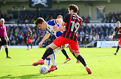 Tom Lockyer of Bristol Rovers challenges for the ball with Jack Payne of Blackburn Rovers - Mandatory by-line: Dougie Allward/JMP - 14/04/2018 - FOOTBALL - Memorial Stadium - Bristol, England - Bristol Rovers v Blackburn Rovers - Sky Bet League One