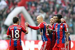 14.02.2015, Allianz Arena, Muenchen, GER, 1. FBL, FC Bayern Muenchen vs Hamburger SV, 21. Runde, im Bild l-r: Torjubel von Juan Bernat #18 (FC Bayern Muenchen), Arjen Robben #10 (FC Bayern Muenchen), Rafinha #13 (FC Bayern Muenchen), Mehdi Benatia #5 (FC Bayern Muenchen), David Alaba #27 (FC Bayern Muenchen) // during the German Bundesliga 21th round match between FC Bayern Munich and Hamburger SV at the Allianz Arena in Muenchen, Germany on 2015/02/14. EXPA Pictures © 2015, PhotoCredit: EXPA/ Eibner-Pressefoto/ Kolbert<br /> <br /> *****ATTENTION - OUT of GER*****