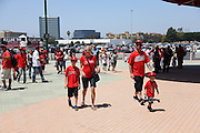 ANAHEIM, CA - JUNE 16:  A family attends the Los Angeles Angels of Anaheim game against the New York Yankees on Sunday, June 16, 2013 at Angel Stadium in Anaheim, California. The Yankees won the game 6-5. (Photo by Paul Spinelli/MLB Photos via Getty Images)