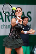 Paris, France - 2017 May 30: Agnieszka Radwanska from Poland plays a forehand during her women's single match first round during tennis Grand Slam tournament The French Open 2017 (also called Roland Garros) at Stade Roland Garros on May 30, 2017 in Paris, France.<br /> <br /> Mandatory credit:<br /> Photo by © Adam Nurkiewicz<br /> <br /> Adam Nurkiewicz declares that he has no rights to the image of people at the photographs of his authorship.<br /> <br /> Picture also available in RAW (NEF) or TIFF format on special request.<br /> <br /> Any editorial, commercial or promotional use requires written permission from the author of image.