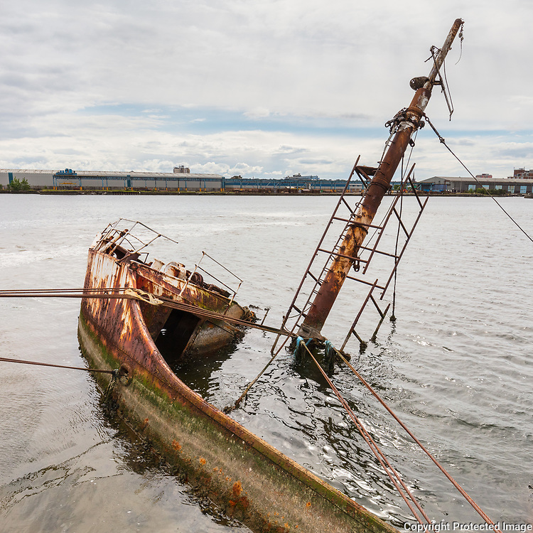 Wreck of the RV Sarsia at East Float Dock in Birkenhead, Merseyside.