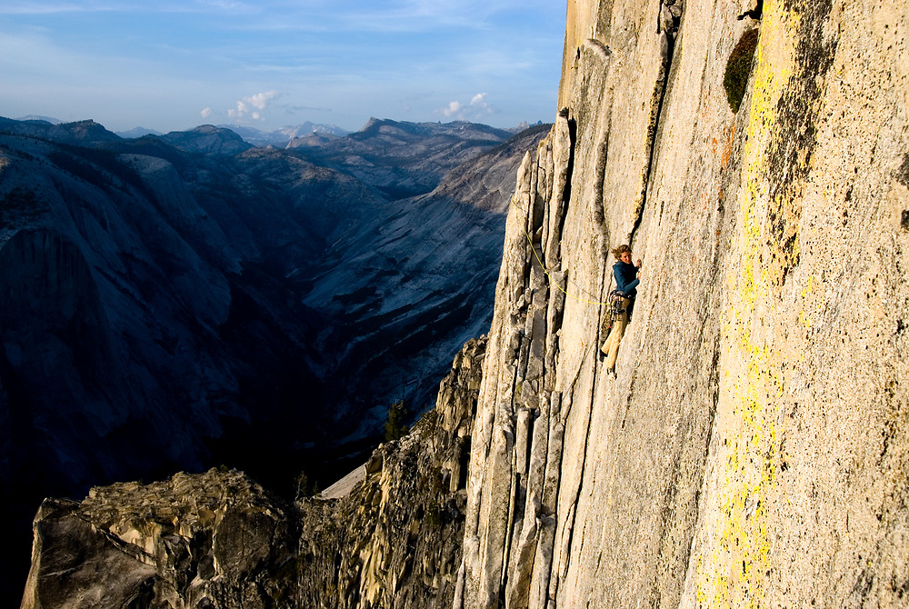 Kate Rutherford running it out 5.9 on Half Dome, Yosemite, CA
