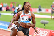 Danielle Williams (JAM) winning the women's 100m hurdles Final equalising the Meeting Record time of 12.46 during the Birmingham Grand Prix, Sunday, Aug 18, 2019, in Birmingham, United Kingdom. (Steve Flynn/Image of Sport via AP)