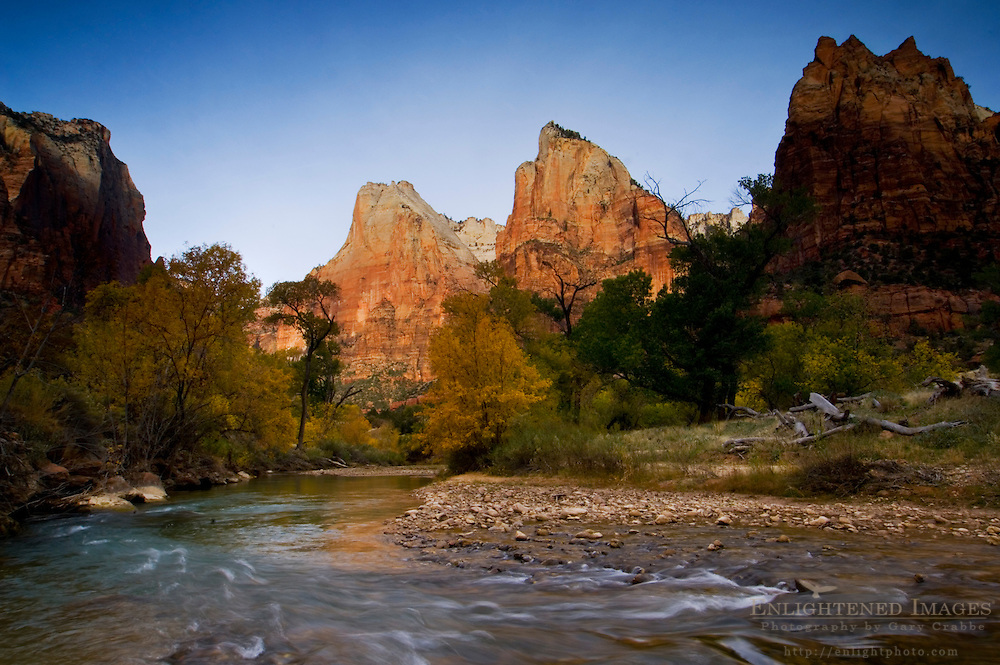 Morning light on The Court of the Patriarchs above the Virgin River, Zion Canyon, Zion National Park, Utah