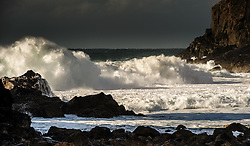 Atlantic waves pound the beach at Dalbeg (Dhailbeag), Isle of Lewis, Outer Hebrides, Scotland<br /> <br /> (c) Andrew Wilson   Edinburgh Elite media