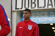 England Forward Marcus Rashford during a general stadium walk around before the Slovenia vs England FIFA World Cup Group F Qualifier match at Stadion Stozce, Ljubljana, Slovenia on 10 October 2016. Photo by Phil Duncan.