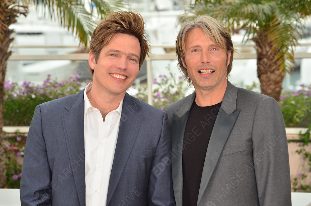 20.MAY.2012. CANNES<br /> <br /> THOMAS VINTERBERG AND MADS MIKKELSEN AT THE 'JAGTEN' (THE HUNT) PHOTOCALL AT THE 65TH CANNES FILM FESTIVAL IN CANNES, FRANCE.<br /> <br /> BYLINE: EDBIMAGEARCHIVE.COM<br /> <br /> *THIS IMAGE IS STRICTLY FOR UK NEWSPAPERS AND MAGAZINES ONLY*<br /> *FOR WORLD WIDE SALES AND WEB USE PLEASE CONTACT EDBIMAGEARCHIVE - 0208 954 5968*