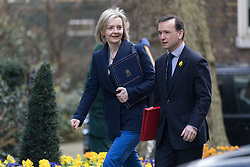 © Licensed to London News Pictures. 28/02/2017. LONDON, UK.  Lord Chancellor and Secretary of State for Justice, Liz Truss and Secretary of State for Wales, Alun Cairns arrive for a cabinet meeting at 10 Downing Street.  Photo credit: Vickie Flores/LNP