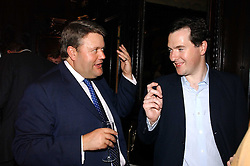 Left to right, LORD STRATHCLYDE and GEORGE OSBORNE MP  at a party to celebrate the publication of 'A History of The English Speaking Peoples Since 1900' hosted by Andrew Roberts and Susan Gilchrist at the English-Speaking Union, 37 Charles Street, London W1 on 11th September 2006.<br />