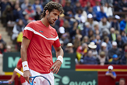 April 7, 2018 - Valencia, Valencia, Spain - Feliciano Lopez of Spain reacts in his doubles match with Marc Lopez of Spain against Tim Putz and Jan-Lennard Struff of Germany during day two of the Davis Cup World Group Quarter Finals match between Spain and Germany at Plaza de Toros de Valencia on April 7, 2018 in Valencia, Spain  (Credit Image: © David Aliaga/NurPhoto via ZUMA Press)