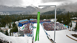 Olympic Winter Games Vancouver 2010 - Olympische Winter Spiele Vancouver 2010, Ski Jumping, Skispringen, A view of Olympic Park during the men's ski jump normal hill event at the 2010 Winter Olympics in Whistler, British Columbia, on Saturday, Feb. 13, 2010.  ***Photo by NEWSPORT / HOCH ZWEI / SPORTIDA.com.
