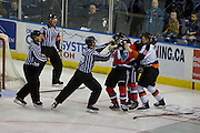 KELOWNA, CANADA - NOVEMBER 5:  a fight breaks out at the Kelowna Rockets game on November 5, 2016 at Prospera Place in Kelowna, British Columbia, Canada.  (Photo By Cindy Rogers/Nyasa Photography,  *** Local Caption ***  Nick Merkley #10 of the Kelowna Rockets, Zach Fischer #9 of the Medicine Hat Tigers
