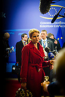 Helle Thorning-Schmidt, Prime Minister of Denmark, current head of the European Commission, at the arrival of the heads of state and their delegetions at the VIP entrance of the European Commission. Brussels Belgium. 30th January 2012